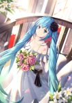 1girl bangs bare_shoulders black_flower black_rose blue_eyes blue_hair blurry blurry_background blush bouquet bow breasts brown_bow cleavage closed_mouth collarbone depth_of_field dress eyebrows_visible_through_hair flower hair_between_eyes hair_flower hair_ornament hatsune_miku highres holding holding_bouquet long_hair medium_breasts mobu_(wddtfy61) off-shoulder_dress off_shoulder pink_flower pink_rose railing rose smile solo twintails very_long_hair vocaloid white_dress white_flower