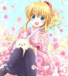1girl :d black_legwear blonde_hair blue_eyes dog flower frilled_kimono frills hair_flower hair_ornament japanese_clothes kimono maekawa_suu open_mouth pink_flower pink_rose pomeranian_(dog) ponytail red_flower red_rose rose smile thigh-highs umineko_no_naku_koro_ni ushiromiya_jessica