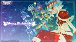 2boys 2girls arm_support breasts capelet christmas cleavage closed_mouth dragon:_marked_for_death empress_(dmfd) highres inti_creates merry_christmas midriff multiple_boys multiple_girls nakayama_tooru official_art red_eyes red_footwear red_legwear red_scarf sack santa_costume scarf shinobi_(dmfd) short_hair sidesaddle sitting smile thigh-highs wallpaper wand warrior_(dmfd) watermark white_hair witch_(dmfd)