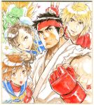 2girls 3boys black_hair blanka blonde_hair blush_stickers bracelet brown_eyes brown_hair bun_cover capcom chun-li clenched_hand commentary_request double_bun dougi fingerless_gloves gloves green_skin headband jewelry kasugano_sakura ken_masters marker_(medium) multiple_boys multiple_girls muscle nishimura_kinu no_pupils orange_hair red_gloves ryuu_(street_fighter) school_uniform serafuku short_hair spiked_bracelet spikes spiky_hair street_fighter thick_eyebrows traditional_media v