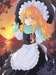 1girl apron black_hat black_skirt black_vest blonde_hair bow braid clouds commentary_request feet_out_of_frame frilled_apron frills gloves green_gloves green_scarf hair_bow hand_up hat highres kirisame_marisa leaf long_hair long_sleeves looking_at_viewer orange_sky outdoors petticoat red_bow rosette_(roze-ko) scarf shirt single_braid skirt skirt_set sky smile solo standing sun sunset touhou vest waist_apron white_apron white_shirt witch_hat yellow_eyes