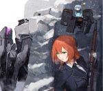 1girl against_wall alternate_costume bangs blue_jacket blue_neckwear breast_pocket bullet_hole buttons commentary_request dinergate drone eyebrows_visible_through_hair fairy_(girls_frontline) girls_frontline gloves green_eyes gun hair_between_eyes hiding highres holding holding_gun holding_weapon hologram jacket long_hair m1903_springfield m1903_springfield_(girls_frontline) military military_uniform mush open_mouth orange_hair pocket sangvis_ferri shirt sidelocks snow snowing swept_bangs tied_hair uniform weapon white_gloves white_shirt
