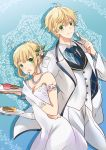 1boy 1girl :o :t ahoge arm_strap arthur_pendragon_(fate) artoria_pendragon_(all) blonde_hair blue_background blue_neckwear braided_bun breasts cleavage dress earrings eyebrows_visible_through_hair fate_(series) food fork formal gloves green_eyes hair_ornament holding holding_fork holding_plate jacket jewelry looking_at_viewer medium_breasts necktie open_clothes open_jacket pants plate rio_(e2759) saber shadow short_hair sleeveless sleeveless_dress strapless strapless_dress tied_hair white_dress white_gloves white_jacket white_pants
