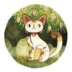 1girl bell bell_collar cat collar commentary english_commentary full_body grass heikala highres leaf looking_to_the_side maneki-neko no_humans original rock solo traditional_media watercolor_(medium)
