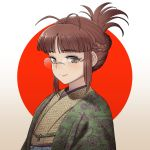 1girl akizuki_ritsuko antenna_hair bangs braid brown_eyes brown_hair brown_kimono chiaki_rakutarou closed_mouth eyebrows_visible_through_hair floral_print folded_ponytail french_braid glasses haori highres idolmaster idolmaster_(classic) japanese_clothes kikumon kimono long_hair obi print_kimono rimless_eyewear sash sidelocks smile solo two-tone_background upper_body white_background