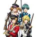 4boys aiguillette antenna_hair antique_firearm aqua_eyes aqua_hair armor black_gloves blonde_hair blue_eyes brown_bess_(senjuushi) charleville_(senjuushi) choker coat crossed_arms fingerless_gloves firearm firelock flintlock frown gauntlets gloves gun hat holding holding_gun holding_weapon kentucky_(senjuushi) lowres majiro_(mazurka) male_focus military military_hat military_uniform multiple_boys musket official_art peaked_cap pink_eyes rifle senjuushi:_the_thousand_noble_musketeers short_hair short_twintails shoulder_armor single_gauntlet smile springfield_(senjuushi) standing tsurime twintails uniform weapon white_gloves yellow_eyes
