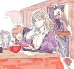 1girl 3boys cassius_(granblue_fantasy) chopsticks dark_skin dark_skinned_male erune eustace_(granblue_fantasy) gran_(granblue_fantasy) granblue_fantasy kotatsu long_hair lyria_(granblue_fantasy) mochi multiple_boys pectorals sleeveless table