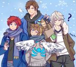 belt blue_eyes brown_hair castlevania castlevania:_rondo_of_blood fire_emblem fire_emblem:_fuuin_no_tsurugi fire_emblem_if gloves headband karbuitt kid_icarus kid_icarus_uprising looking_at_viewer male_focus male_my_unit_(fire_emblem_if) mamkute multiple_boys my_unit_(fire_emblem_if) new_year nintendo open_mouth pit_(kid_icarus) pointy_ears red_eyes redhead richter_belmondo roy_(fire_emblem) scarf short_hair smile snow super_smash_bros. super_smash_bros._ultimate white_hair wings winter_clothes