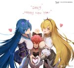 2019 3girls :d armor artist_request bare_shoulders black_legwear blonde_hair blue_eyes blue_hair bow breasts cheek_press collar cowboy_shot eyebrows_visible_through_hair faulds fingers_together garter_straps girl_sandwich hair_bow hairband hand_holding happy_new_year heart heart_hands_trio interlocked_fingers japanese_armor long_hair looking_at_viewer mengjing_lianjie multiple_girls new_year one_eye_closed open_mouth own_hands_together pink_hair pleated_skirt sandwiched short_hair shoulder_armor skirt small_breasts smile sode thigh-highs very_long_hair wide_sleeves yellow_eyes