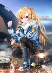 1girl :d ahoge armband asymmetrical_bangs azur_lane backpack bag bangs bird black_legwear black_skirt blonde_hair blue_coat blue_footwear blue_legwear blush camouflage_jacket campfire camping character_name chick cleveland_(azur_lane) commentary_request cooking day dust_(394652411) english_text eyebrows_visible_through_hair fire fish fishing full_body fur_scarf grin highres holding knee_pads kneehighs lake lantern long_hair long_sleeves looking_at_viewer miniskirt mountainous_horizon one_side_up open_mouth outdoors pantyhose pantyhose_under_kneehighs pot red_eyes scarf shoes skirt smile sneakers solo squatting stew teeth tent very_long_hair white_scarf