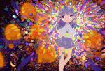 1girl abstract absurdres bangs collared_shirt colorful disembodied_head feet_out_of_frame glowing half-closed_eyes highres jewelry long_hair necklace no_nose original planet purple_hair saturn shirt short_sleeves sizucomaru skirt white_shirt