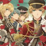 4boys antique_firearm aqua_eyes aqua_hair armor ascot black_gloves blonde_hair blue_eyes brown_bess_(senjuushi) charleville_(senjuushi) choker epaulettes eyebrows_visible_through_hair fingerless_gloves firearm firelock flintlock frown gauntlets gloves gun hat holding holding_gun holding_weapon kentucky_(senjuushi) kinoshita_sakura looking_at_viewer male_focus military military_hat military_uniform multiple_boys musket official_art peaked_cap petals pink_eyes rifle senjuushi:_the_thousand_noble_musketeers short_hair short_twintails single_gauntlet springfield_(senjuushi) twintails uniform weapon white_gloves yellow_eyes