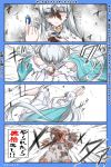 1girl 4koma ;) anastasia_(fate/grand_order) animal arms_up bangs blue_cloak blue_eyes cloak closed_mouth comic commentary_request crystal dress eyebrows_visible_through_hair fate/grand_order fate_(series) hair_over_one_eye half-closed_eye highres holding long_hair monkey neon-tetora one_eye_closed royal_robe silver_hair smile throwing translation_request very_long_hair white_dress
