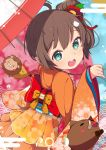 1girl 2019 absurdres animal bangs blurry blurry_background blush bow brown_hair cat_hair_ornament chinese_zodiac commentary depth_of_field egasumi eyebrows_visible_through_hair flower food green_eyes hair_between_eyes hair_flower hair_ornament hand_up high_ponytail highres holding holding_umbrella hololive japanese_clothes kimono long_sleeves looking_at_viewer looking_back natsuiro_matsuri obi okota_mikan orange_kimono oriental_umbrella pig red_bow red_flower red_umbrella sash shrimp shrimp_tempura side_ponytail sidelocks sleeves_past_wrists solo tempura umbrella virtual_youtuber wide_sleeves year_of_the_pig