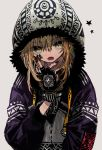 1girl azsn10 bangs black_nails blonde_hair character_request copyright_request drawstring earrings eyebrows_visible_through_hair fingerless_gloves fur_trim gloves grey_background hair_between_eyes highres hood hoodie hoop_earrings jacket jewelry long_hair looking_at_viewer nail_polish open_mouth patterned_clothing simple_background solo star upper_body zipper zipper_pull_tab