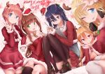 5girls antlers blonde_hair blue_eyes chinese_commentary commentary_request doki_doki_literature_club hat highres loafers long_hair monika_(doki_doki_literature_club) multiple_girls pink_hair purple_hair red_eyes santa_costume santa_hat sayori_(doki_doki_literature_club) shoes short_hair sitting stylus sunkazer tablet_pc yuri_(doki_doki_literature_club)