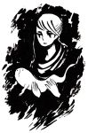 1girl commentary english_commentary ghost greyscale hands heikala holding inktober monochrome original short_hair solo