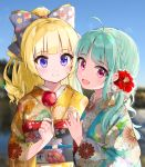 2girls :d ahoge aqua_hair bangs battle_girl_high_school blonde_hair blue_kimono blue_sky blurry blurry_background blush bow braid candy_apple closed_mouth commentary_request curly_hair day eating eyebrows_visible_through_hair floral_print flower food from_side hair_bow hair_flower hair_ornament hand_up head_tilt highres holding holding_food japanese_clothes kimono kiyosato0928 long_hair long_sleeves looking_at_viewer looking_to_the_side multiple_girls obi open_mouth outdoors print_kimono purple_bow red_eyes red_flower sadone sash sendouin_kaede sidelocks sky smile upper_body violet_eyes wide_sleeves yellow_kimono