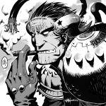 1boy artist_name black_hair cigar dated demon demon_horns forehead_tattoo greyscale hellboy hellboy_(comic) horns male_focus monochrome no_pupils profanity smoking solo star studded_gloves upper_body van(yoroshigu) wire