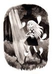 1girl arm_up commentary dappled_sunlight english_commentary forest full_body ghost grass greyscale heikala inktober kneehighs light light_rays long_hair monochrome nature neckerchief open_mouth original outdoors scared shirt short_sleeves skirt solo standing sunbeam sunlight