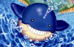 afloat black_eyes creature day flower full_body gen_3_pokemon grass grin kusajima_hajime no_humans official_art outdoors pokemon pokemon_(creature) pokemon_trading_card_game smile solo swimming third-party_source wailmer water