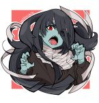 1girl absurdres bandage black_dress black_hair blue_skin dress eyebrows_visible_through_hair eyes_visible_through_hair hair_between_eyes highres long_hair off_shoulder open_mouth outstretched_arms red_eyes saltnvalk sharp_teeth signature solo teeth yamada_tae zombie zombie_land_saga zombie_pose