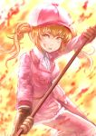1girl baseball_cap blonde_hair blood blood_on_face brown_gloves eosinophil_(hataraku_saibou) fatherland2009 fur_trim gloves hat hataraku_saibou holding_polearm jacket looking_at_viewer open_mouth pants pink_hat pink_pants simple_background solo standing twintails yellow_eyes
