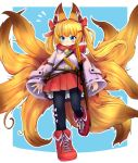 1girl alternate_costume animal_ears ankle_boots black_legwear blonde_hair blue_background blue_eyes blush boots closed_mouth cross-laced_footwear doitsuken extra_tails flying_sweatdrops fox_ears fox_tail full_body hair_ornament hair_ribbon hairclip jacket katana kemomimi_oukoku_kokuei_housou kitsune long_sleeves mikoko_(kemomimi_oukoku_kokuei_housou) multiple_swords multiple_tails outline pantyhose pink_jacket pom_pom_(clothes) red_footwear red_ribbon red_scarf red_skirt ribbon scarf short_hair simple_background skirt solo standing standing_on_one_leg sword tail virtual_youtuber weapon white_outline