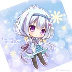 1girl :o antenna_hair bangs black_legwear blue_bow blue_dress blue_hair blue_hairband blush bow brown_footwear character_name chibi commentary_request copyright_request dress eyebrows_visible_through_hair frilled_dress frills hair_between_eyes hair_bow hair_over_shoulder hair_ribbon hairband hands_up happy_birthday long_hair long_sleeves low_twintails pantyhose parted_lips puffy_short_sleeves puffy_sleeves purple_bow ribbon ryuuka_sane shoes short_over_long_sleeves short_sleeves sleeves_past_wrists solo twintails twitter_username very_long_hair violet_eyes yellow_ribbon