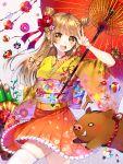 1girl :d animal ball bamboo bangs berries blush braid brown_eyes chinese_zodiac commentary_request double_bun eyebrows_visible_through_hair floral_print flower frilled_skirt frills gradient gradient_kimono hair_flower hair_ornament hair_ribbon happy_new_year head_tilt highres japanese_clothes kimono light_brown_hair long_hair maria_(maria0304) new_year obi open_mouth orange_kimono orange_skirt oriental_umbrella original pig pleated_skirt print_kimono red_flower red_ribbon red_rose red_umbrella ribbon rose round_teeth sash short_kimono side_braids side_bun skirt smile solo spinning_top teeth temari_ball thigh-highs twin_braids umbrella upper_teeth very_long_hair white_legwear year_of_the_pig yellow_flower yellow_kimono