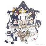 6+girls :d animal_ear_fluff animal_ears bird black_eyes black_hair blonde_hair bow bowtie cat_ears commentary_request dated elbow_gloves emperor_penguin_(kemono_friends) fang food gentoo_penguin_(kemono_friends) gloves grape-kun hair_over_one_eye hand_holding headphones hood hood_down hooded_jacket humboldt_penguin humboldt_penguin_(kemono_friends) jacket japari_bun kemono_friends korean_commentary long_hair looking_at_viewer margay_(kemono_friends) margay_print mouth_hold multicolored_hair multiple_girls one_knee open_mouth outstretched_arms penguin photo-referenced pink_eyes pose print_gloves print_legwear print_neckwear print_skirt red_eyes rockhopper_penguin_(kemono_friends) roonhee royal_penguin_(kemono_friends) shirt short_hair simple_background skirt sleeveless sleeveless_shirt smile spread_arms thigh-highs white_background white_hair white_legwear yellow_eyes