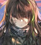 1girl artist_request bandanna black_hair blonde_hair blue_sky brown_eyes closed_mouth clouds dirty_face eyebrows_visible_through_hair girls_frontline green_hair hair_between_eyes highlights m4a1_(girls_frontline) mod3_(girls_frontline) multicolored_hair skull_print sky solo sunset