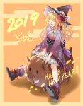 1girl 2019 alternate_costume animal bangs blonde_hair boar boots bow braid chinese_zodiac closed_eyes egasumi flower frills full_body gradient_hair green_ribbon hair_ribbon happy_new_year hat hat_bow hat_flower highres japanese_clothes kimono kirisame_marisa long_hair long_sleeves multicolored_hair new_year obi open_mouth orange_background petticoat purple_footwear purple_hat purple_kimono red_flower ribbon riding sash shadow shidaccc side_braid smile straddling tassel touhou white_bow wide_sleeves witch_hat yukata