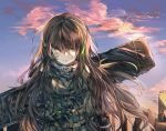 1girl artist_request backpack bag bandanna blonde_hair blue_sky brown_eyes brown_hair cityscape clouds cloudy_sky commentary controller dawn dirty_face eyebrows_visible_through_hair girls_frontline gloves green_hair hair_flowing_over long_hair m4a1_(girls_frontline) mod3_(girls_frontline) remote_control skull_print sky solo white_hair