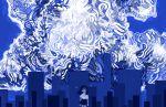 1girl abstract absurdres antennae bangs black_hair black_skirt blue blue_eyes cityscape collared_shirt cowboy_shot glowing half-closed_eyes highres jewelry long_hair looking_at_viewer necklace no_nose original shirt sizucomaru skirt solo