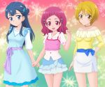 3girls :d ahoge blonde_hair blouse blue_dress blue_eyes blue_hair blue_skirt breasts camisole casual clenched_hands closed_mouth collared_blouse commentary_request cowboy_shot dress hair_bobbles hair_ornament hairclip hand_on_hip hugtto!_precure jewelry kagayaki_homare layered_clothing layered_skirt light_blush long_hair long_sleeves looking_at_viewer medium_breasts medium_dress medium_hair miniskirt miracle! multicolored multicolored_background multiple_girls necklace nono_hana off-shoulder_shirt off_shoulder open_mouth pencil_skirt pink_eyes pink_hair pink_shirt precure puffy_short_sleeves puffy_sleeves sash shirt short_hair short_sleeves side_bun skirt smile sparkle standing underwear white_blouse white_skirt x_hair_ornament yakushiji_saaya yellow_eyes yellow_shirt