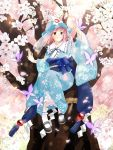 1girl arm_up black_footwear blue_dress blue_kimono blue_ribbon bug butterfly cherry_blossoms dress floral_print flower frilled_legwear frilled_shirt_collar frills glowing glowing_petals hat in_tree insect japanese_clothes kimono koma_midori long_sleeves looking_up mary_janes mob_cap neck_ribbon obi obiage obijime open_mouth petals petticoat pink_hair red_eyes ribbon rope saigyouji_yuyuko sash see-through shide shimenawa shoes short_hair sitting sitting_in_tree smile socks solo sphere touhou tree tree_branch triangular_headpiece unmoving_pattern veil white_legwear wide_sleeves wind wind_lift