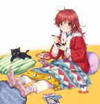 1girl blanket book cellphone chigusa_asuha chips chopsticks coaster eating food long_hair looking_at_viewer mochi mochi_trail new_year otoshidama phone pillow potato_chips qualidea_code red_eyes redhead sekiya_asami sitting smartphone steam