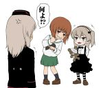 3girls alternate_footwear anger_vein angry bandage bangs black_hat black_jacket black_legwear black_neckwear black_ribbon black_skirt blouse bow bowtie brown_eyes brown_footwear brown_hair casual collared_shirt commentary eyebrows_visible_through_hair garrison_cap girls_und_panzer green_skirt grin hair_ribbon half-closed_eyes hat high-waist_skirt holding holding_stuffed_animal itsumi_erika jacket kuromorimine_military_uniform laughing leaning_to_the_side light_brown_hair loafers long_hair long_sleeves looking_at_another medium_skirt military military_hat military_uniform motion_lines multiple_girls neckerchief nishizumi_miho ooarai_school_uniform pantyhose pleated_skirt pointing ribbon school_uniform serafuku shimada_arisu shirt shoes short_hair side_ponytail silver_hair skirt smile smug socks striped striped_legwear stuffed_animal stuffed_toy suspender_skirt suspenders teddy_bear trembling uniform wata_do_chinkuru white_blouse white_shirt