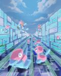 bird blue_sky building clouds cloudy_sky commentary_request creature creatures_(company) d-nezumi day floating game_freak gen_1_pokemon gen_2_pokemon gen_4_pokemon highres horn nintendo no_humans outdoors pokemon pokemon_(creature) porygon porygon-z porygon2 sky virtual_reality