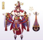 1girl bare_shoulders blush breasts brown_hair cleavage closed_mouth fingernails gradient gradient_background grey_background hair_ornament horns instrument instrument_request japanese_clothes kimono large_breasts leaf98k long_sleeves looking_at_viewer multicolored_hair nail_polish obi oni oni_horns original platform_footwear pointy_ears purple_kimono purple_nails sandals sash solo streaked_hair tabi tassel white_legwear yellow_eyes
