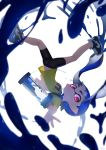 1girl artist_name bangs bike_shorts black_footwear black_shorts blue_hair blunt_bangs blurry closed_mouth commentary depth_of_field diffraction_spikes english_commentary expressionless falling full_body highres ink ink_tank_(splatoon) inkling kashu_(hizake) long_hair looking_at_viewer monster_girl no_socks outstretched_arm outstretched_hand pointy_ears reaching_out red_eyes shirt shoes short_sleeves shorts sneakers solo splatoon_(series) t-shirt tentacle_hair upside-down white_background yellow_shirt
