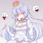 1girl bangs boo breasts choker cleavage collar commentary_request crown dress frilled_choker frilled_collar frilled_dress frilled_gloves frills ghost_pose gloves grey_background light_blush long_hair looking_at_viewer luigi's_mansion medium_breasts mini_crown open_mouth pale_skin princess_king_boo purple_tongue sharp_teeth shuuichi_(gothics) simple_background smile solo sparkle standing super_crown teeth tilted_headwear tongue tongue_out violet_eyes w_arms white_choker white_dress white_gloves white_hair