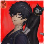 1boy amamiya_ren backpack bag black-framed_eyewear black_cat black_hair cat character_request dated from_side glasses highres ikeda_(cpt) jacket looking_at_viewer looking_to_the_side parted_lips persona persona_5 purple_jacket red_background smile solo turtleneck upper_body violet_eyes