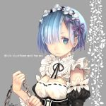 1girl black_ribbon black_sleeves blue_eyes blue_hair breasts chin choker cleavage flower grey_background hair_flower hair_ornament hair_over_one_eye hair_ribbon head_wreath holding kero_sweet long_sleeves looking_at_viewer medium_breasts neck_ribbon purple_ribbon re:zero_kara_hajimeru_isekai_seikatsu rem_(re:zero) ribbon ribbon-trimmed_sleeves ribbon_trim short_hair solo white_flower