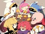 4boys 4girls blush cloak closed_eyes cup flamberge_(kirby) food food_on_head francisca_(kirby) fruit glowing glowing_eyes hal_laboratory_inc. hat horns hoshi_no_kirby hoshi_no_kirby_wii hyness kirby kirby's_return_to_dream_land kirby:_planet_robobot kirby:_star_allies kirby_(series) kirby_triple_deluxe kotatsu looking_at_another magolor mandarin_orange messy_hair multiple_boys multiple_girls nintendo object_on_head pink_hair pink_skin redhead short_hair smile susie_(kirby) suzuyuki_cafe table taranza white_hair yellow_eyes zan_partizanne