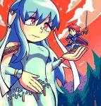 1boy 1girl blue_cape blue_dress blue_eyes blue_hair cape closed_mouth clouds commentary detached_sleeves dress eliwood_(fire_emblem) english_commentary eyebrows_visible_through_hair fingernails fire_emblem fire_emblem:_rekka_no_ken fire_emblem_heroes flying_sweatdrops forest giantess hair_ornament hand_on_hip holding holding_sword holding_weapon long_hair looking_at_another nature ninian nintendo pose rapier red_eyes redhead setz smile sword weapon