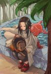 1boy 1girl afro black_eyes brown_cape brown_hair cape character_request closed_eyes day earrings fingerless_gloves flower_earrings gloves hair_intakes hairband highres ico6 jewelry long_hair outdoors pool red_footwear red_gloves shaman_king sitting smile tree water yellow_hairband
