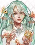 1girl absurdres alternate_eye_color aqua_hair blue_nails bracelet collared_shirt commentary daily_deviation earrings english_commentary fingernails fish goldfish hands_up hatsune_miku highres jewelry lavender_hair lips lipstick liquid_hair long_hair makeup nail_polish necklace parted_lips red_lipstick shirt simha solo vocaloid white_shirt yellow_eyes