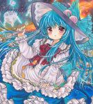 1girl black_hat blouse blue_bow blue_hair blue_skirt blush bow bowtie commentary cowboy_shot food frilled_bow frilled_shirt_collar frilled_sleeves frills fruit hand_up hat hat_bow hinanawi_tenshi holding holding_sword holding_weapon keystone long_hair long_sleeves looking_at_viewer marker_(medium) parted_lips peach petticoat puffy_sleeves red_bow red_eyes red_neckwear rui_(sugar3) sample skirt solo sword sword_of_hisou touhou traditional_media very_long_hair weapon white_blouse